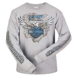 Harley-Davidson Men's 115th Anniversary Metal Eagle Long Sleeve Shirt, Gray