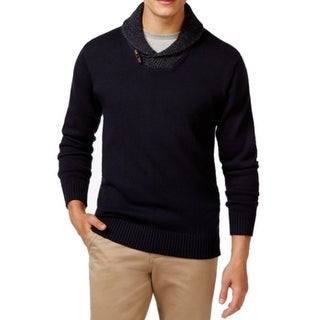 Weatherproof NEW Blue Mens Size Large L Shawl Collar Knit Sweater