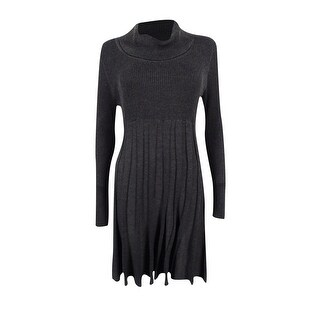 Calvin Klein Women's Petite Cowl-Neck Fit & Flare Sweater Dress - charcoal