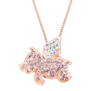 Crystaluxe Flying Pig Pendant with Swarovski Crystals in 18K Rose Gold-Plated Sterling Silver - Pink
