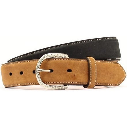 Nocona Western Belt Mens Leather Contrast Billet Black Tan