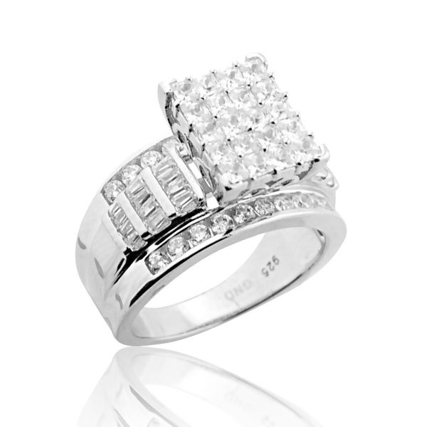 3 in 1 Style Bridal Wedding Ring Set Sterling Silver 11mm Wide Round and Baguette Cut CZ By MidwestJewellery