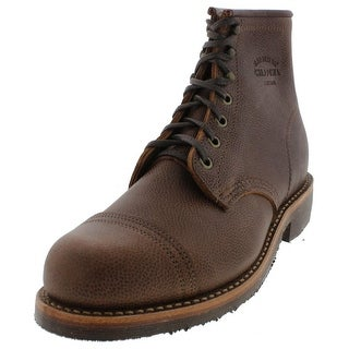 "Chippewa Mens Apache 6"" Cap Toe Boots Pebbled Leather"