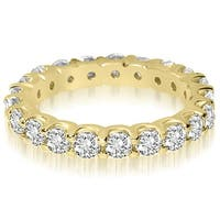 14K Yellow Gold 1.40 ct.tw Round Cut Shared Prong Diamond Eternity Wedding Ring HI, SI1-2