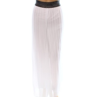 Alfani NEW White Women's Size Medium M Pleated Metallic Pull On Pants