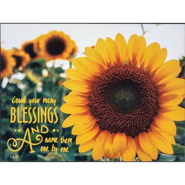 "15.8"" Yellow and Green Sunflower Printed Rectangular Wall Plaque - N/A"