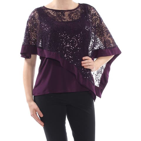 R&M RICHARDS Womens Purple Sequined Cape Overlay Evening Top Size: 10
