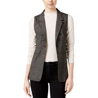 Kensie Womens Casual Vest Plaid Collar Black L