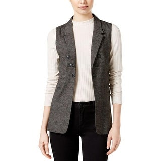 Kensie Womens Casual Vest Plaid Collar Black M