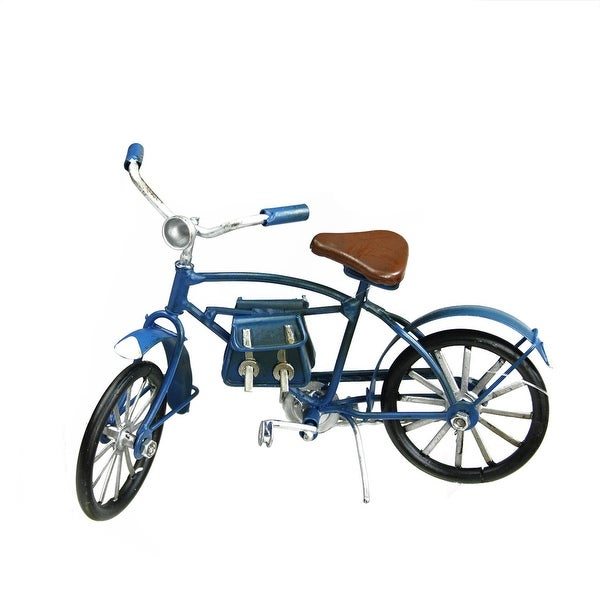 "6.5"" Decorative Blue Vintage Style Bicycle with Side Saddle Bags Christmas Ornament"
