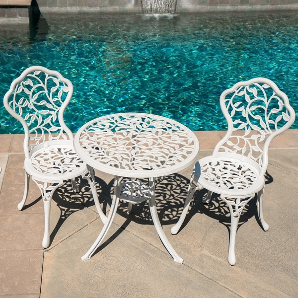 White Iron Patio Set Leaf Design Cast 3 Piece Bistro Outdoor Weather Resistant