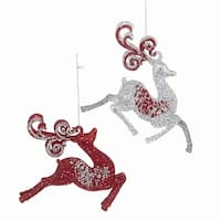 Club Pack of 12 Red and Silver Colored Reindeer Christmas Hanging Ornaments 4.5""