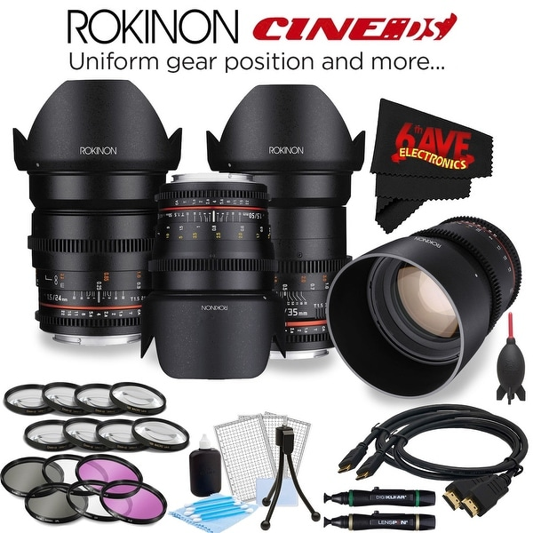Rokinon 24mm T1.5 Cine DS Lens for Sony E-Mount DS24M-NEX + Rokinon 35mm T1.5 Cine DS Lens for Sony E-Mount DS35M-NEX Bundle