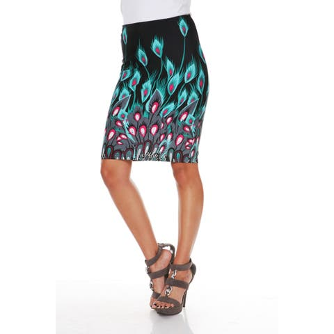 Feather Print Pencil Skirt - Green