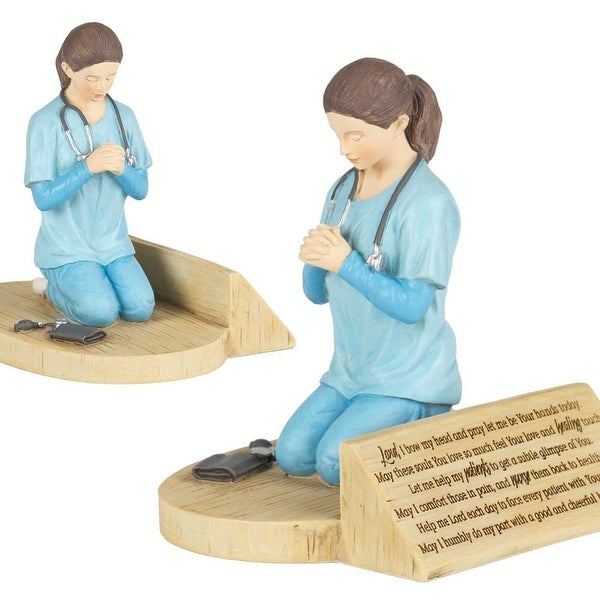 "5"" Kneeling Female Nurse Prayer Resin Figurine - N/A"
