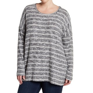 Bobeau Heather Womens Plus Striped Pullover Sweater