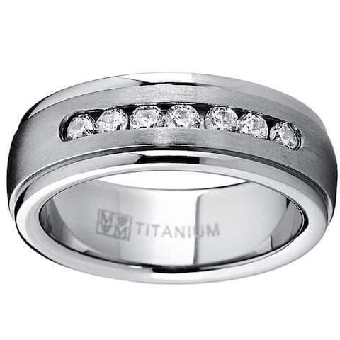 Men's Dome Titanium Cubic Zirconia Comfort Fit Wedding Band 7MM