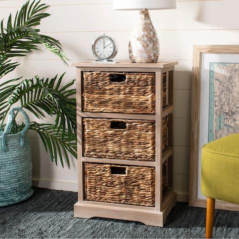 """SAFAVIEH Halle Winter Melody 3-Drawer Wicker Basket Storage Unit - 17.3"""" x 13.4"""" x 29.5"""""""