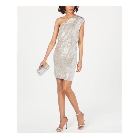 ADRIANNA PAPELL Silver Knee Length Blouson Dress Size 4