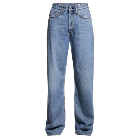 rag and bone Womens Logan Low Rise Wide Leg Jeans Mid Tone Linen