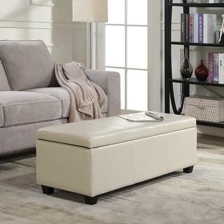 "Belleze Modern Elegant Ottoman Storage Bench Living Bedroom Room Home Faux Leather 48"" inch"