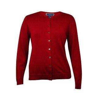 Karen Scott Women's Crewneck Ribbed Buttoned Cardigan