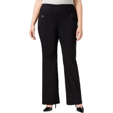 I-N-C Womens Zip Pocket Casual Wide Leg Pants