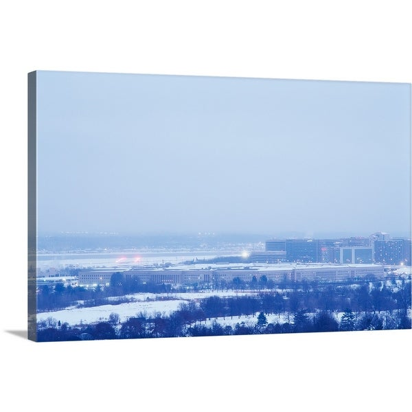 """High angle view of the Penatgon with snow, Virginia"" Canvas Wall Art"