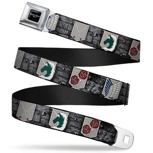 Attack On Titan Logo Full Color Black White Red Attack On Titan Military Seatbelt Belt Standard
