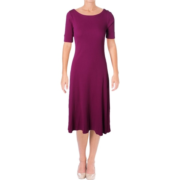 Lauren Ralph Lauren Womens Drenda Casual Dress Waffle-Knit Elbow Sleeves