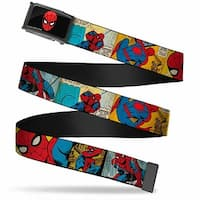 Marvel Comics Spider Man Face Fcg  Chrome Spider Man Comic Strip Web Belt