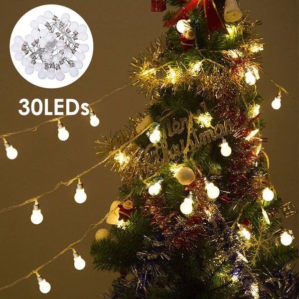 Costway Christmas LED String Ball Lights Xmas Wedding Party Decor Fairy Lamp Warm White