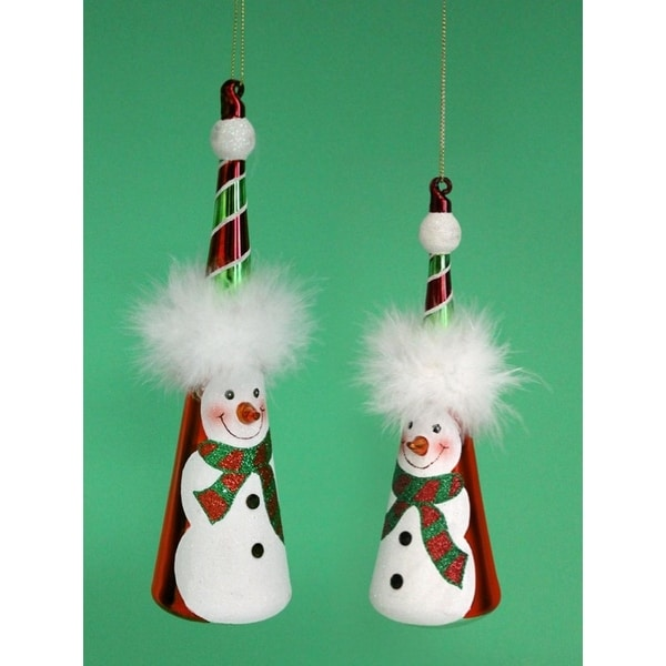 "Pack of 12 Red and Green Glass Snowman Cone Christmas Ornaments 8""-9.5"""