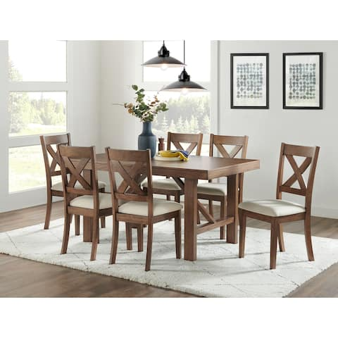 Rustic Light Brown X-back Armless Dining Chairs (Set of 4)