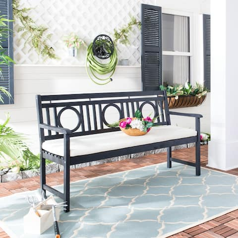 "Safavieh Outdoor Living Montclair 3-seat Dark Slate Grey/ Beige Bench - 23.4""x60.6""x34.7"""