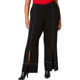 Link to I-N-C Womens Slit-Front Casual Wide Leg Pants, black, 18W Similar Items in Pants