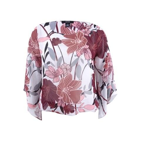 Alfani Women's Angel-Sleeve Blouson Top - white moda floral