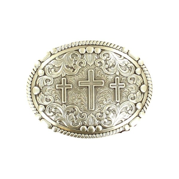"Nocona Western Belt Buckle Three Crosses Oval Scrolling Silver - 3 3/4"" x 2 7/8"""