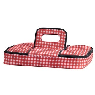 """16"""" Red and White Checkered Insulated Casserole Carrier"""