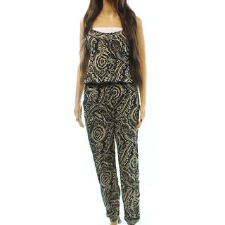 Angie NEW Black Cream Paisley Printed Women's Size Small S Jumpsuit