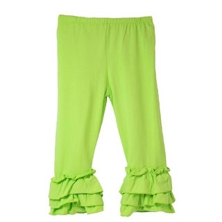 Girls Lime Triple Tier Ruffle Cuffed Cotton Spandex Pants 12M-6
