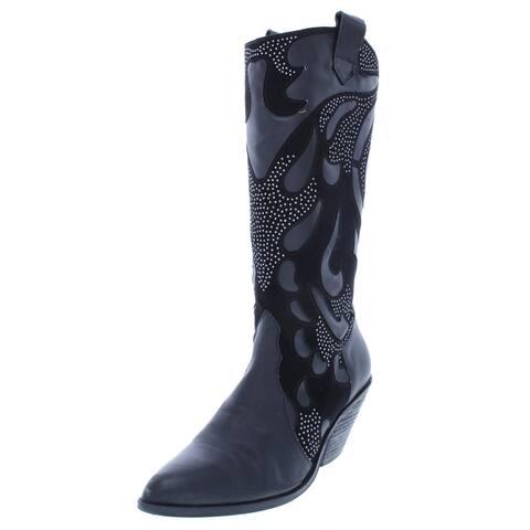 Carlos by Carlos Santana Womens Axel Cowboy, Western Boots Leather Block Heel