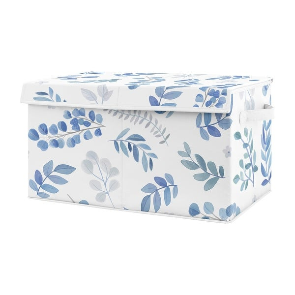 Floral Leaf Collection Boy or Girl Fabric Toy Bin Storage - Blue Grey White Boho Watercolor Botanical Flower Woodland Tropical. Opens flyout.