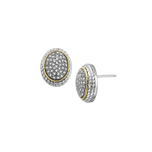 1/4 ct Diamond Oval Stud Earrings in Sterling Silver & 14K Gold