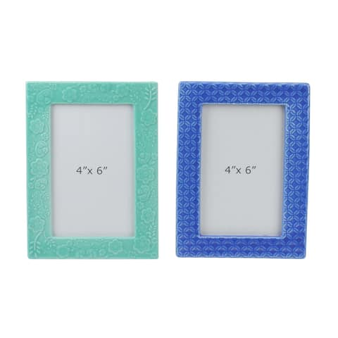 """Set of 2 Blue and Green Embossed 4"""" x 6"""" Photo Frames - 4-inchx6-inch"""