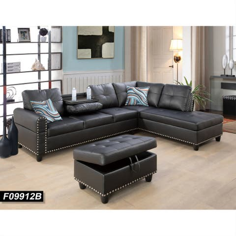 Black Leather Right-facing Sectional Sofa with Drop Down Table(9912B)
