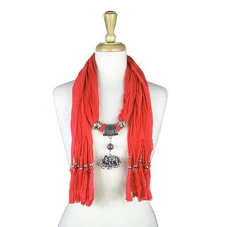 "Handmade Womens Charm Elephant Pendant Rhinestone Jewelry Scarf - Red - 72"" long"
