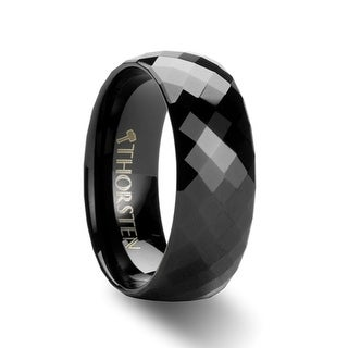 AEON 288 Diamond Faceted Black Tungsten Carbide Band