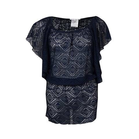 Jessica Simpson Women's Crochet Flutter Swimsuit Cover