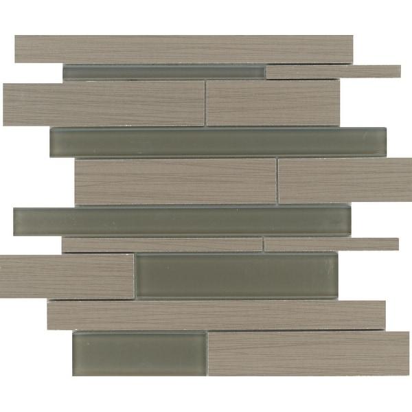 Emser Tile F72THRE1313M Thread - Random Linear Mosaic Floor and Wall Tile - Smooth Fabric Visual - Olive